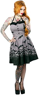 Women's Sourpuss Clothing Spooksville Bat Dress Gray