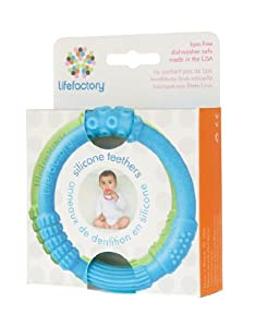 Lifefactory 2 Pack Multi Sensory Silicone Teether, Sky/Spring Green