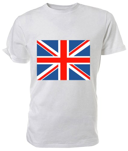 Union Jack Flag T shirt, white size Large
