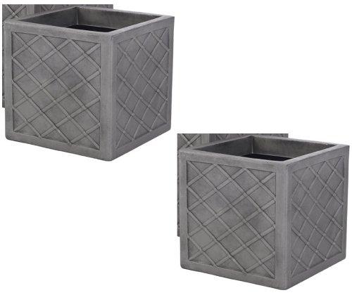 2-x-strata-lazio-395cm-square-plastic-planter-plant-pot-lattice-slate-grey-colour