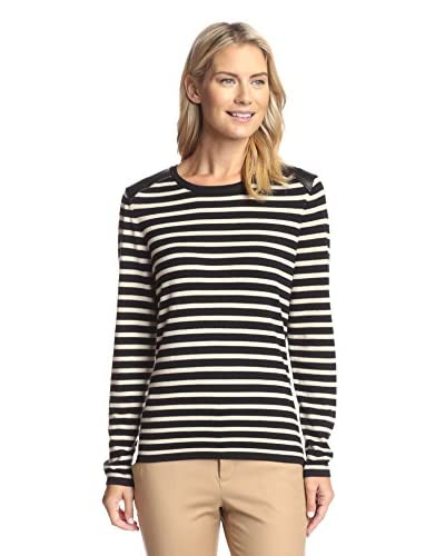 J. McLaughlin Women's Leeward Sweater with Leather Shoulders