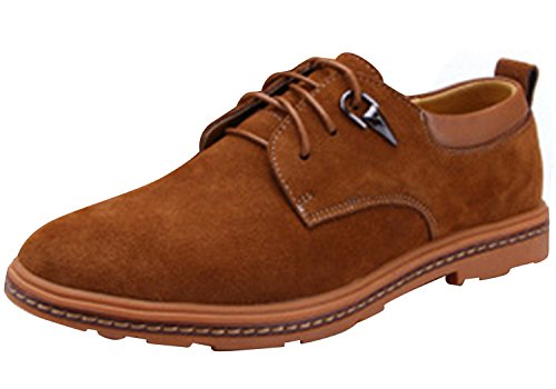Runday Men's Round Toe Lace Up Casual Breathable Leather Fashion Oxfords(10.5 D(M)US,tan)