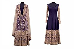 Khazanakart New Attractive Navy Blue Colour Cotton Fabric Bollywood Style Designer Salwar Suit Dress Material For Women