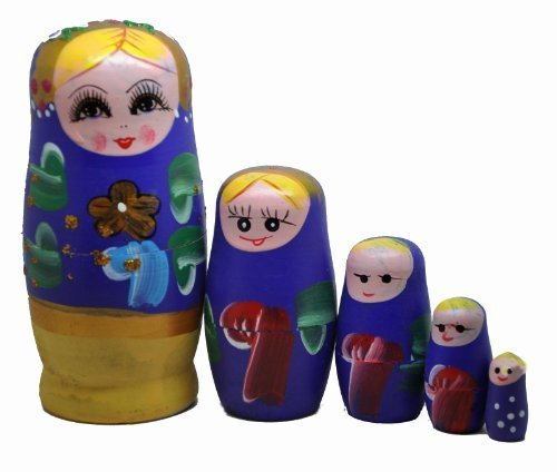 Purple Set of 5 Cutie Nesting Dolls Matryoshka Madness Russian Doll