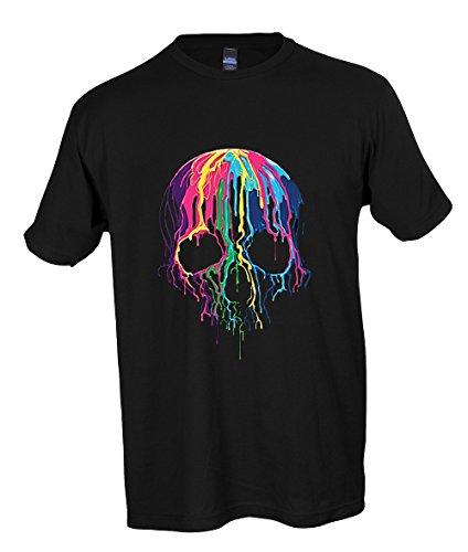 Melting Skull Neon Colorful Wax Sugar Skull Rave Party T-shirt Adult S-3XL-Black-L