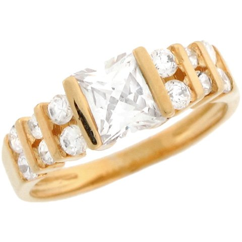 14ct Solid Yellow Gold White Square 1.8ct CZ Ladies Engagement Ring