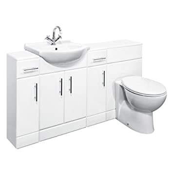 650mm White Gloss Vanity Unit With Concealed Toilet Unit, Two Bathroom Storage Cupboards