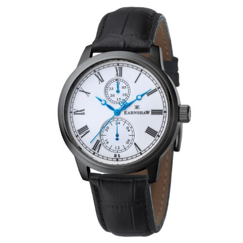 Thomas Earnshaw Cornwall Men's Quartz Watch with White Dial Analogue Display and Black Leather Strap ES-8002-03