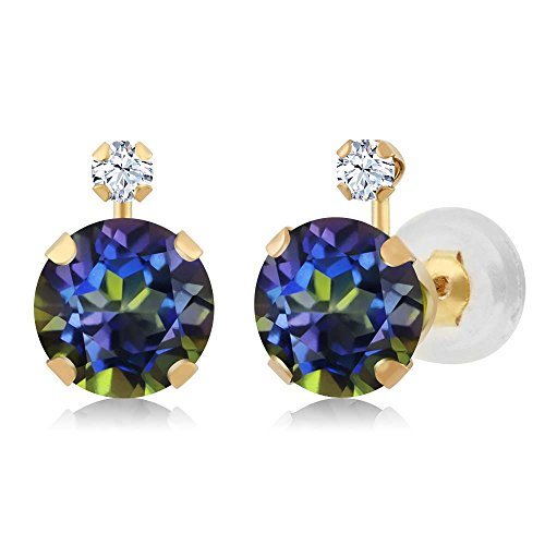 168-Ct-Round-Blue-Mystic-Topaz-White-Created-Sapphire-14K-Yellow-Gold-Earrings