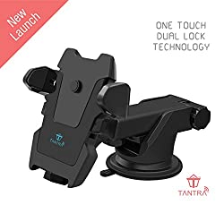Tantra TWIST Smart Universal Phone Holder, Mobile Stand for Car (Car Mount) with Quick One Touch Technology (Expandable & Rotatable) with Double Shift Locking for Windscreen, Dashboard & Table Desk (Black).