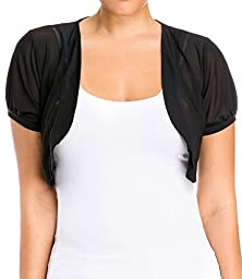 eVogues Plus Size Sheer Cropped Bolero Shrug Black - 1X