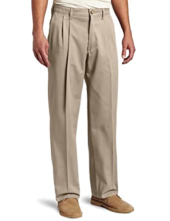 Lee Men's Big & Tall Comfort Waist Pleated Pant, Mid-Khaki, 42x30