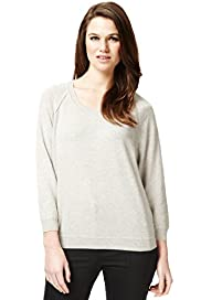 Autograph Pure Cashmere Ribbed Trim Jumper