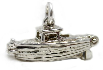 Welded Bliss Sterling 925 Silver Clinker Style Cabin Boat Charm Opening To Show The Captain WBC1014