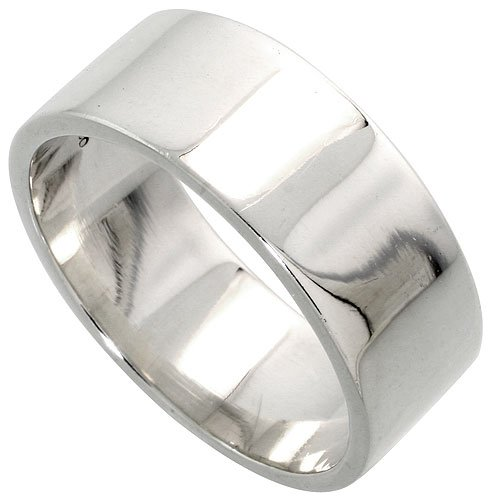 Revoni Sterling Silver 8 mm Flat Wedding Band Ring, size J