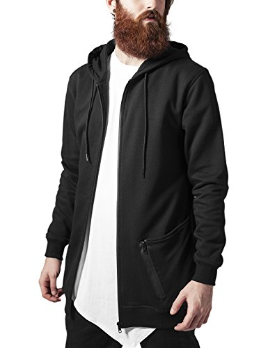 Urban Classics Long Peached Tech Zip Hoody-Felpa Uomo    Schwarz (blk/blk 17) X-Large