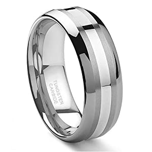 8MM Tungsten Carbide 14K White Gold Inlay Wedding Band Ring Sz 9.0 SN#d011
