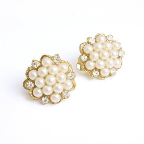 [Vantine] VINGTAINE classical small Pearl Earrings E11-3-G Gold