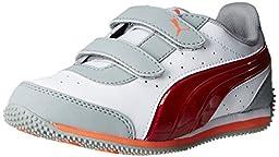 PUMA Speed Light-Up V Kids Sneaker  , White/Limestone Gray/High Risk Red, 5 M US Toddler