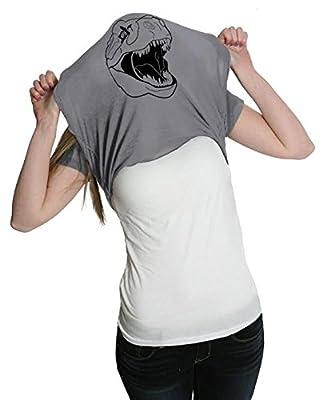 Womens Ask Me About My T-Rex Shirt Funny T Shirt Flip Dinosaur Tee (Gray)