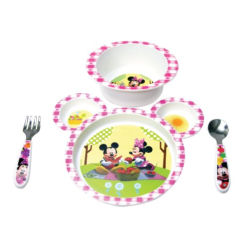 Big Save! The First Years Minnie Mouse 4 Piece Feeding Set, Colors May Vary