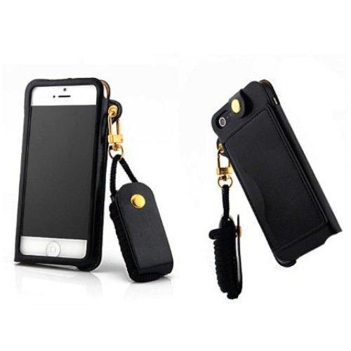Apple iPhone4 iPhone4S 兼用 プレミアムホルダーケース [ アイフォン4/4S SIMフリー スマホ 対応 ] PUレザー スライド収納モデル (イヤホンコード巻取・ICカード収納・ストラップホール・スタンド) + ネックストラップセットBlack (黒) …
