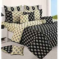 Swayam Printed Cotton Double Bedsheet With 2 Pillow Covers - Cream And Black