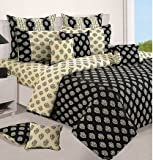 Swayam Shades of Paradise Printed Cotton Double Duvet Cover - Cream and Black (TSR02-3202)
