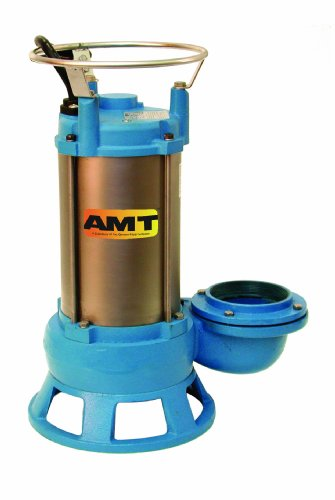"Amt 576C-95 Ci Submersible Shredder Sewage Pump, Double Mechanical Seal, 3"" Out, 2 Hp, 3 Phase Motor"