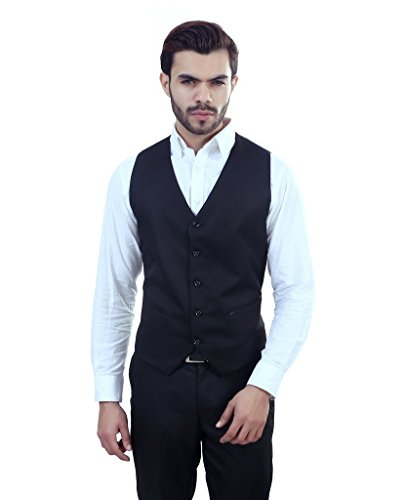 ManQ Black Slim Fit Party/Casual Men's V.Neck Waist Coat
