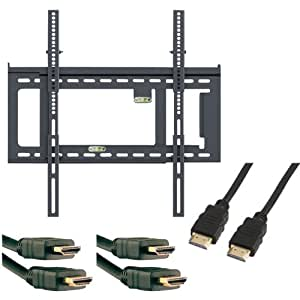 buy level mount dc65adlp 41202x3kit 26 inch to 85 inch fixed tv mount with 3 pack 6 feet hdmi. Black Bedroom Furniture Sets. Home Design Ideas
