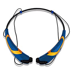 Bluetooth Headphones / Headset Rymemo Metallic-feeling Soft Polishing Wireless Music Earphones Stereo Earbuds Sports/running Magnetic Neckband Style for Cellphone, Gold-Blue