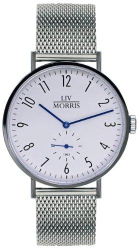 LIV MORRIS 1963 Modell TETHYS MESH, im Bauhaus-Stil gehaltene Herrenuhr, Ø 41mm, feine Automatikuhr, 316L Edelstahlgehäuse, massives Mesharmband, Saphirglas, mechanisches SeaGull-Automatik-Uhrwerk