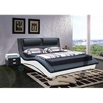Pas cher lit cuir cleveland 140 x 190 noir et blanc mobilier nitro mobilier - Lit complet 140 x 190 pas cher ...
