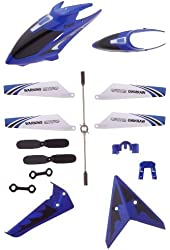 Full Replacement Parts Set for Syma S107 RC Helicopter, Syma Head Cover S107G-01, Syma Main Blades S107G-02, Syma Tail Decorations S107G-03, Syma Connect Buckle x2 S107g-04, Syma Balance Bar S107G-05, Syma Tail Blade S107G-06 - Blue set