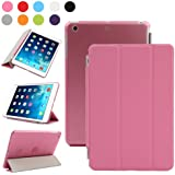 BESDATA Ultra Thin Magnetic Smart Cover (Wake/Sleep Function) & Translucent Back Case for Apple iPad Mini 2 / Mini 3 (with Retina Display) + Screen Protector + Cleaning Cloth + Stylus, Pink - PT3104