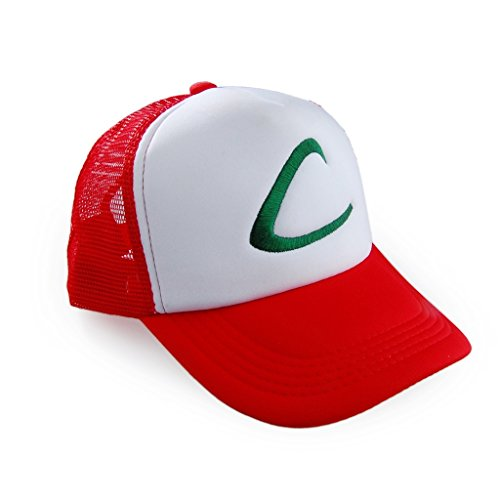 Pokemon Ash Ketchum Baseball Snapback Cap Trainer Hat Embroidered (Red - Adjustable Style) (Red Pokemon Hat compare prices)