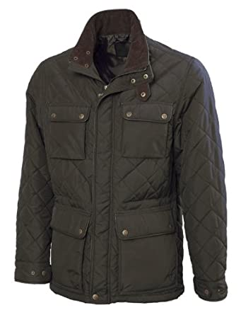 VEDONEIRE Mens Quilted Jacket (3037) GREEN with leather trim quilt padded coat (3XL (chest 50-52 inches))