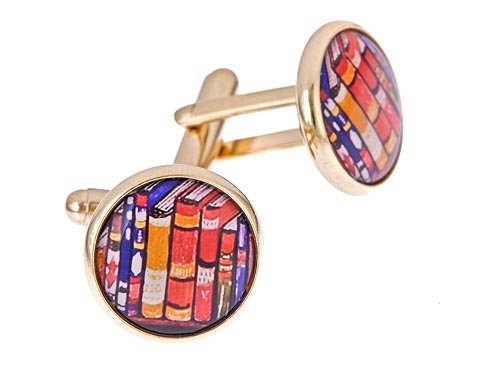 JJ Weston imaginative yellow gold plated cufflinks with a book or books image with presentation box. Made in the U.S.A