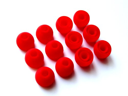 12Pcs: Medium (M) Red Replacement Eartips Earbuds For Monster Beats Dr. Dre Tour, Powerbeats, Urbeats 2.0, Heartbeats 2.0 (Lady Gaga), Diddybeats And Turbine Pro, Gratitude, Dna, Diesel Vektr, Isport Victory, Isport Immersion, Inspiration, Claritymobile,