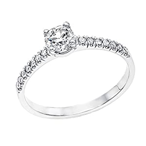 IGI Certified 14k white-gold Round Cut Diamond Engagement Ring (0.43 cttw, J Color, SI1 Clarity) - size 6.5