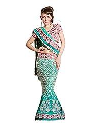 Fabdeal Indian Designer Net Blue Embroidered Lehenga Saree-ORNLC10003PTG