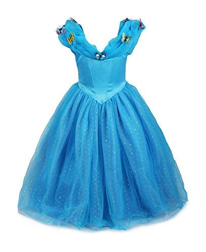 ReliBeauty Little Girls Princess Cinderella Butterflies Maxi Fancy Dress(Blue, 5-6 Years)