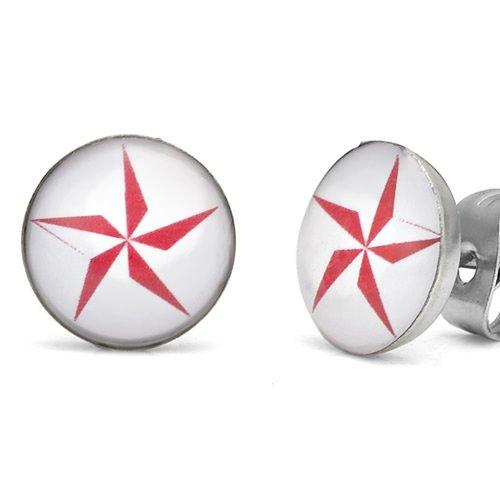 Ninja Star Studs Stainless Steel Stud Earrings for Men Red White