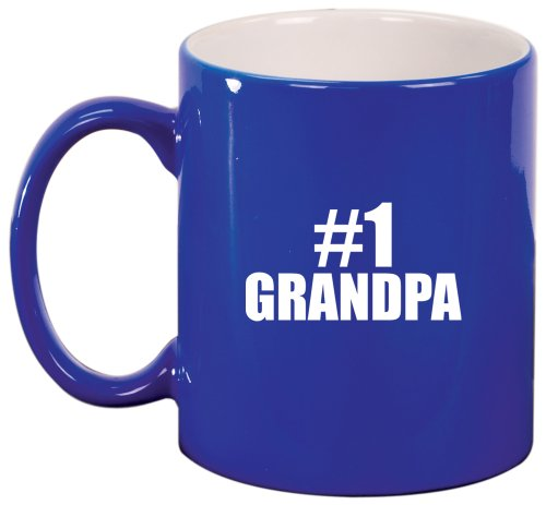 #1 Grandpa Ceramic Coffee Tea Mug Cup Blue Gift For Grandpa