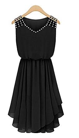 Fast Trade Womens V-Neck Sleeveless Skater Skirt Summer Dresses