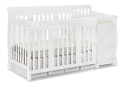 Stork Craft Portofino 4 in 1 Fixed Side Convertible Crib Changer, White (White Changing Table Side compare prices)