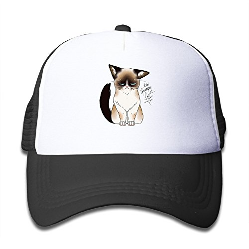Geek Grumpy Cat Youth Trucker Caps Boys Girls Baseball Hat Adjustable Cotton Black By JE9WZ
