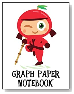 Graph Paper Notebook For Children - Cute little red ninja makes a fun cover for this graph paper notebook for younger children.