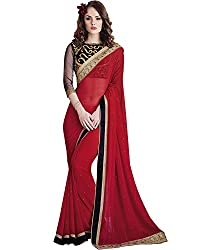 Vishal Prints Red Georgette Saree with Heavy Black Blouse Piece